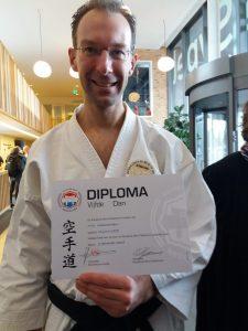 Michiel met diploma 5e dan