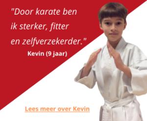 Kevin, karate-leerling bij Kaihatsu